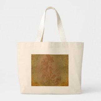 Art Nouveau Guitar Girl Vintage Peach Tote Bags