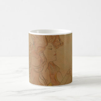 Art Nouveau Guitar Girl Vintage Peach Coffee Mug