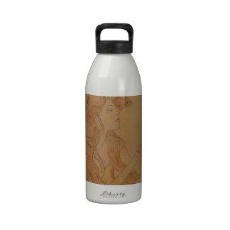 Art Nouveau Guitar Girl Vintage Peach Reusable Water Bottles