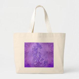 Art Nouveau Guitar Girl Vintage Purple Canvas Bags