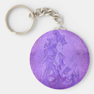 Art Nouveau Guitar Girl Vintage Purple Basic Round Button Keychain