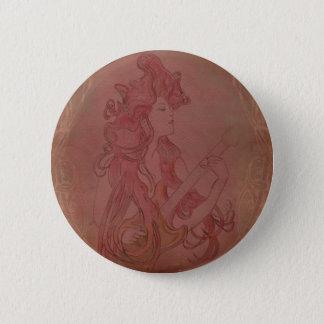 Art Nouveau Guitar Girl Vintage Rose Pinback Button