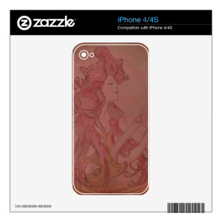 Art Nouveau Guitar Girl Vintage Rose Decals For iPhone 4