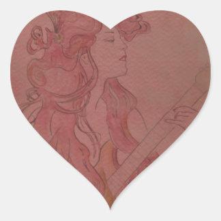 Art Nouveau Guitar Girl Vintage Rose Sticker