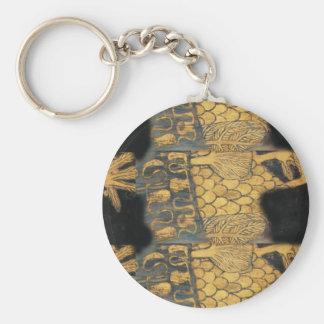 Art Nouveau Gustav Klimt Gold Black Pattern Keychain