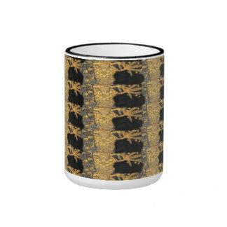 Art Nouveau Gustav Klimt Gold Black Pattern Ringer Mug