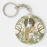 Art Nouveau Hunting Dog Illustration Key Chain