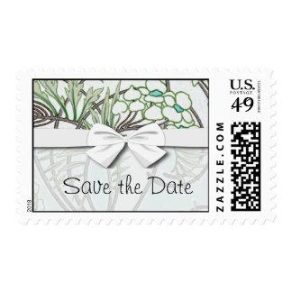 art nouveau intricate floral nature design stamp