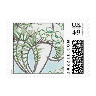 art nouveau intricate floral nature design stamps