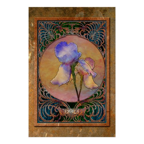 Art Nouveau Irises in a Coppery Mucha Frame Poster