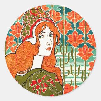 Art Nouveau ~ Jane by Louis John Rhead Round Sticker