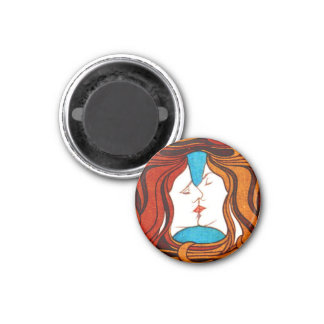 Art Nouveau Kiss Refrigerator Magnet