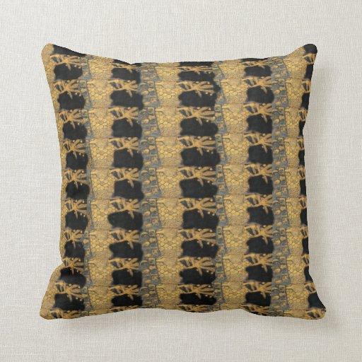 Art Nouveau Klimt Gold Black Pillow