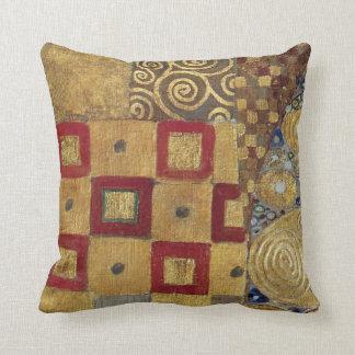 Art Nouveau Klimt - Gold, Red, Old Gold, Silver Throw Pillow