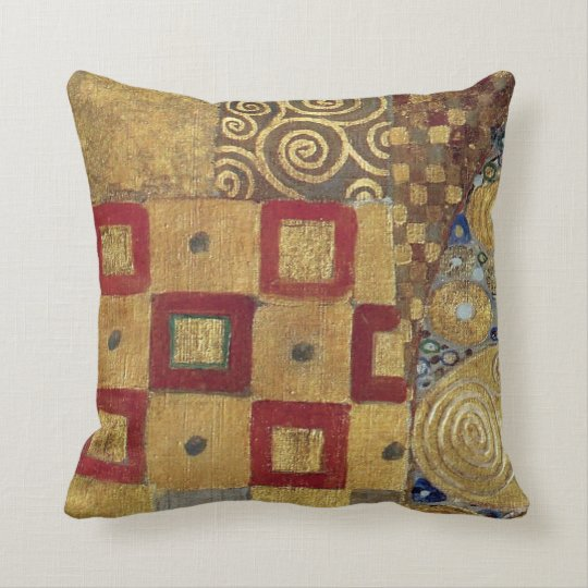 Art Nouveau Klimt - Gold, Red, Old Gold, Silver Throw Pillow