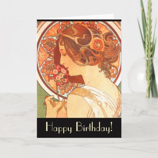 Art Nouveau Lady Birthday Card Zazzle