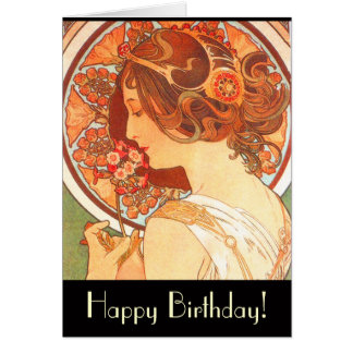 Art Nouveau Lady Birthday Card