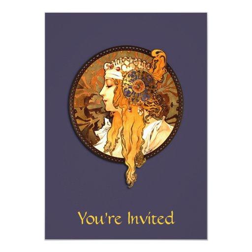 Art Nouveau Lady Bridal Shower Invitation