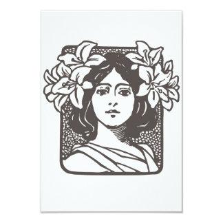 "Art Nouveau Lady - Bridal Shower Invitations 3.5"" X 5"" Invitation Card"