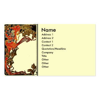 Art Nouveau Lady Double-Sided Standard Business Cards (Pack Of 100)