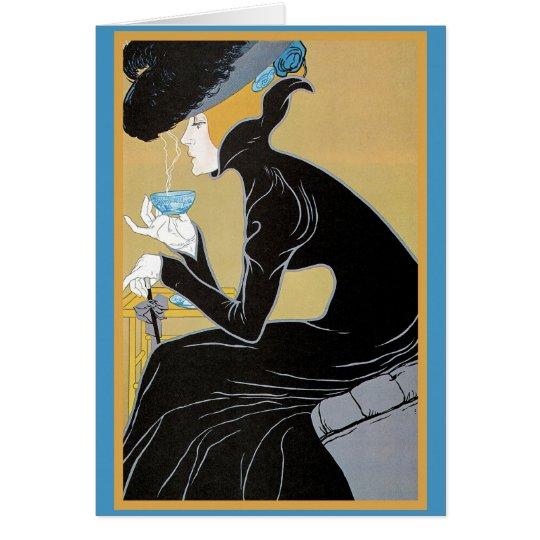 Art Nouveau Lady Drinking Tea Card