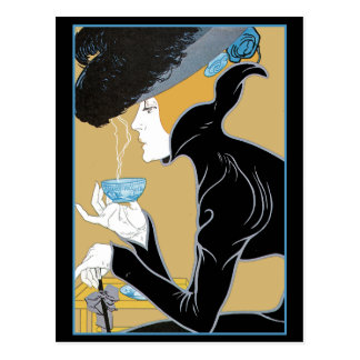 Art Nouveau Lady Drinking Tea Postcard