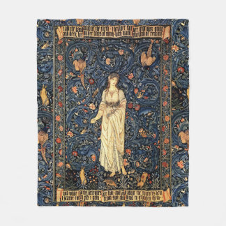 Art Nouveau Lady Flower Bird Rabbit Fleece Blanket