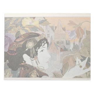 Art Nouveau Lady & Flowers Floral Notepad