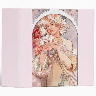 Art Nouveau Lady Flowers Floral Woman Vintage 3 Ring Binder