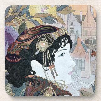 Art Nouveau Lady & Flowers Garden Floral Coasters