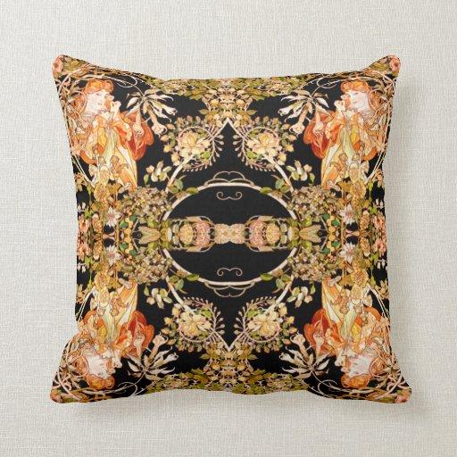 Art Nouveau Lady in Garden Throw Pillow Zazzle