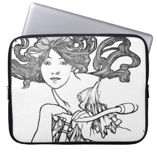 Art Nouveau Lady Mucha Fashion Bike Laptop Sleeve