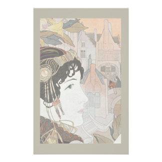 Art Nouveau Lady Romantic Fairy Tale Stationery
