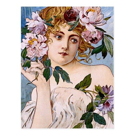 Art Nouveau Lady with Flowers Postcard