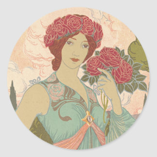 Art Nouveau Lady with Roses Classic Round Sticker