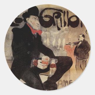 Art Nouveau Le Grillion Stickers Etiqueta Redonda