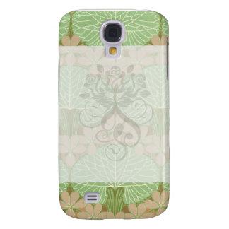 art nouveau leafy green floral pern design art samsung s4 case