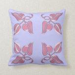 Art Nouveau light purple leaves four corners Throw Pillows