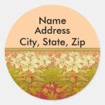 Art Nouveau Lilies Address Labels Round Stickers