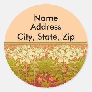 Art Nouveau Lilies Address Labels Classic Round Sticker