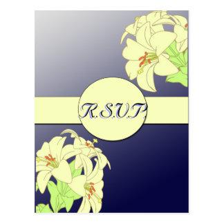 Art Nouveau Lillies Wedding Response Card Postcards