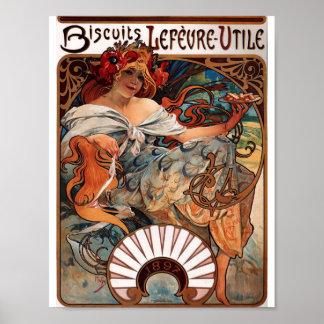 """Art Nouveau Lithograph """"Biscuits Lefèvre-Utile"""" Poster"""