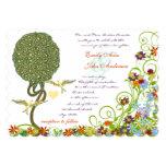 "Art Nouveau Love Bird Rustic Tree Wedding 5"" X 7"" Invitation Card"