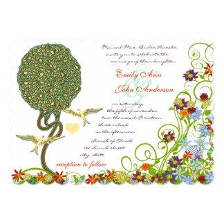 Art Nouveau Love Bird Rustic Tree Wedding 5x7 Paper Invitation Card