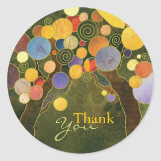 Art Nouveau Love Trees Wedding Thank You Stickers