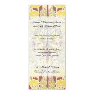art nouveau marigold floral pattern art card