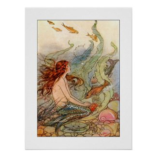 Art Nouveau Mermaid Poster/print 18x24