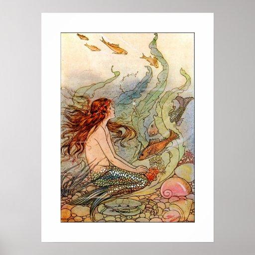 Art Nouveau Mermaid Poster Print 18x24 Poster