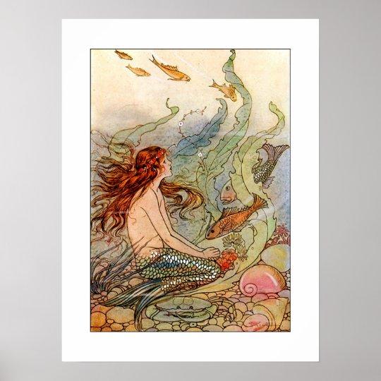 Art Nouveau Mermaid Poster Print 18x24 Poster Zazzle Com