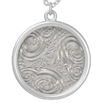 Art nouveau metal swirl floral design necklace